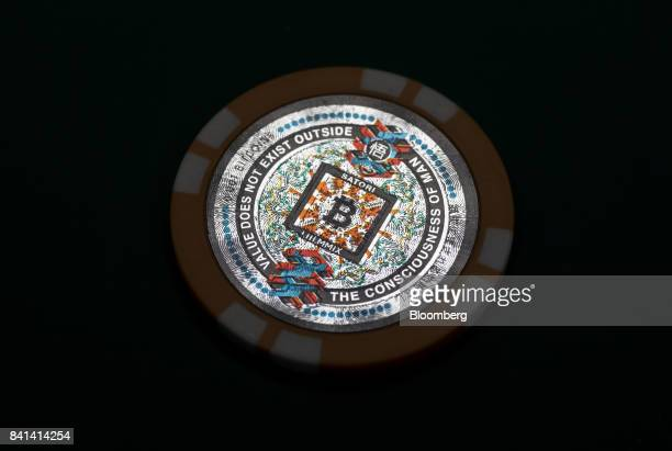 A physical Satori bitcoin is seen at the Coin Trader bitcoin retail store in Tokyo Japan on Wednesday Aug 30 2017 Stock of Bitcoin the bestknown...