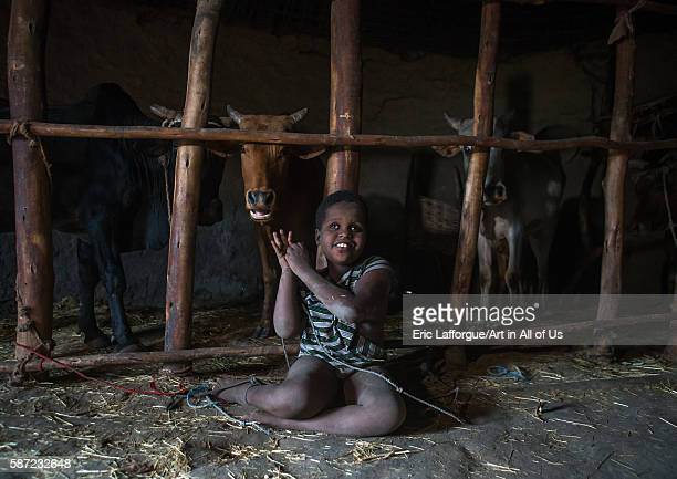 Physically and mentally handicapped child chained to a fence in a house kembata alaba kuito Ethiopia on March 8 2016 in Alaba Kuito Ethiopia