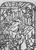 Physicians treating a man and a woman suffering with syphilis circa 1450