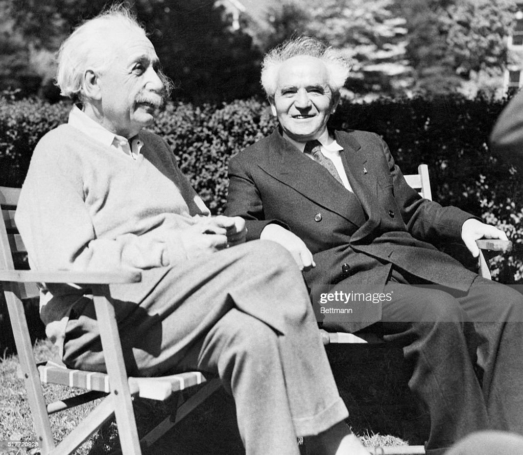 Physicist <a gi-track='captionPersonalityLinkClicked' href=/galleries/search?phrase=Albert+Einstein&family=editorial&specificpeople=70023 ng-click='$event.stopPropagation()'>Albert Einstein</a> and David Ben-Gurion, first prime minister of Israel, relax in Einstein's backyard.