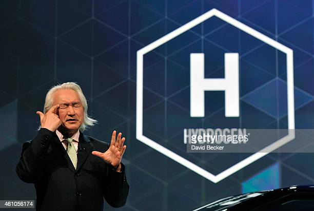 Physicist and authur Michio Kaku speaks at Toyota press event at the Mandalay Bay Convention Center for the 2015 International CES on January 5 2015...
