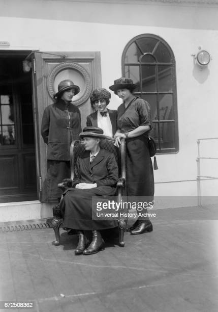 Physicist Marie Curie with her daughters Irene and Eve and Mrs William B Maloney on RMS OIympic Arriving in New York City New York USA to Raise Funds...