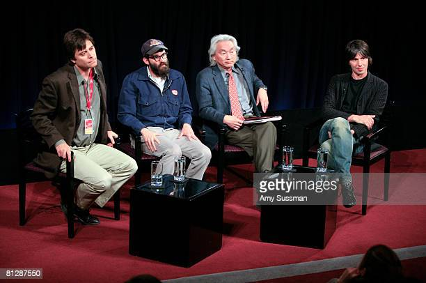 Physicist Max Tegmark musician Mark Everett physicist Michio Kaku and physicist and moderator Brian Cox speak at the panel discussion 'Parallel...