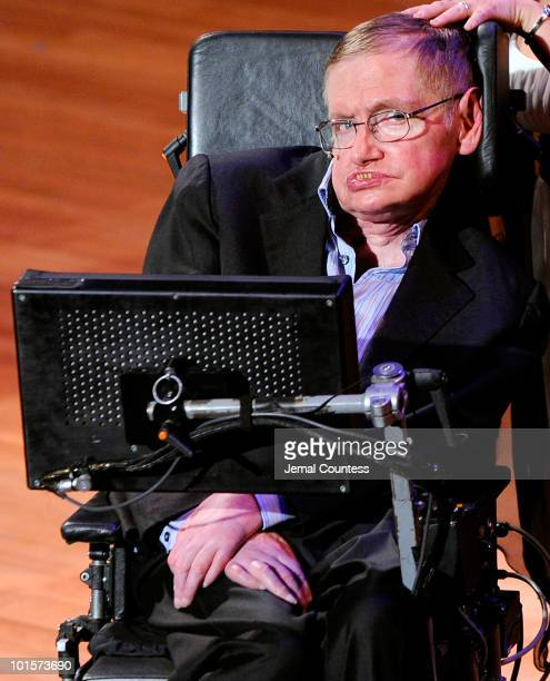 Physicist Stephen Hawking onstage during the 2010 World Science Festival Opening Night Gala at Alice Tully Hall Lincoln Center on June 2 2010 in New...