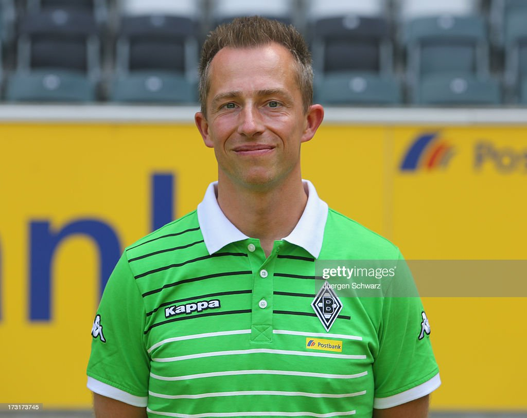 Physiotherapist Adam Szordykowski poses during the team presentation of Borussia Moenchengladbach on July 9, 2013 in Moenchengladbach, Germany.
