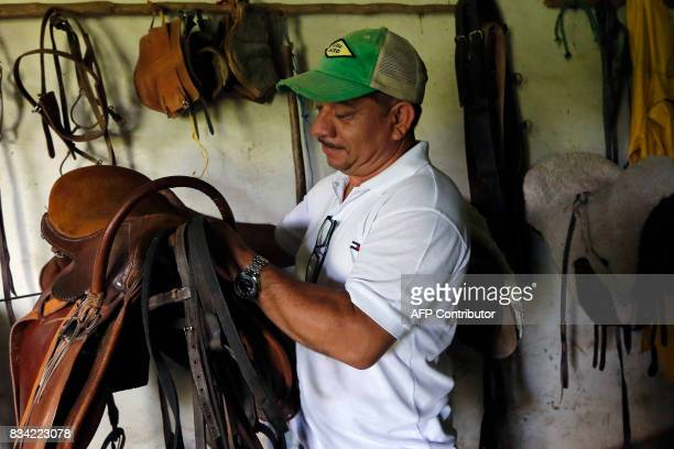 Physiotherapist Gustavo Vallejo prepares the horse's saddle for a hippotherapy session with children in Matagalpa town some 130 kilometres from...