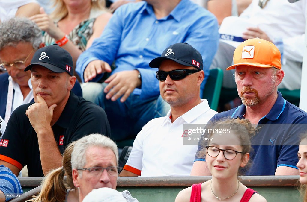Physiotherapist Milan Amanovic, Coaches Marian Vajda and <a gi-track='captionPersonalityLinkClicked' href=/galleries/search?phrase=Boris+Becker&family=editorial&specificpeople=67204 ng-click='$event.stopPropagation()'>Boris Becker</a> watch Novak Djokovic of Serbia in his Men's Semi Final match against Andy Murray of Great Britain on day thirteen of the 2015 French Open at Roland Garros on June 5, 2015 in Paris, France.
