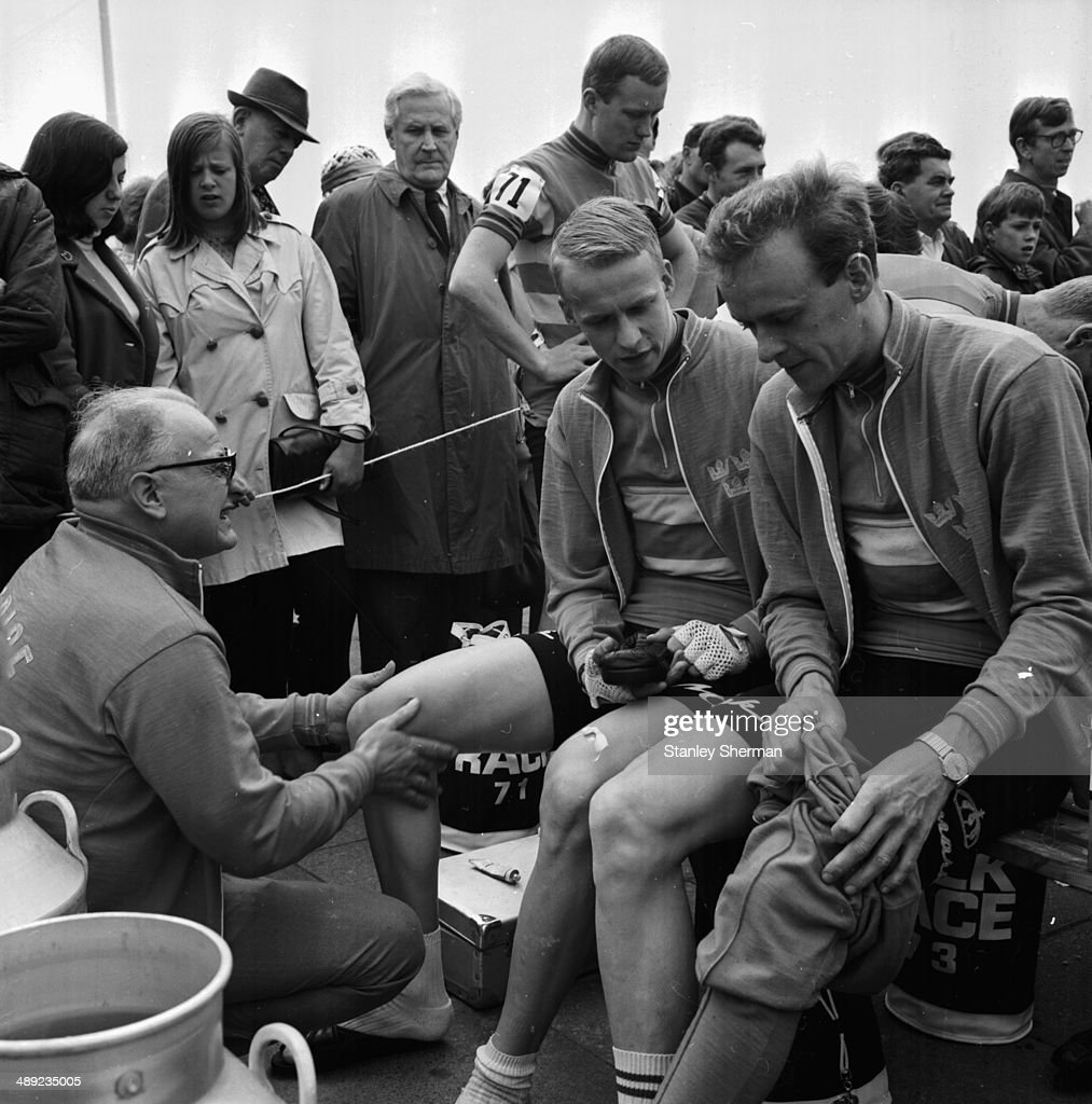 A physiotherapist preparing cyclists for the Tour of Britain race Brighton May 26th 1968