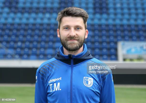 Physiotherapist Tino Meyer poses during the team presentation of 1 FC Magdeburg at MDCCArena on July 13 2017 in Magdeburg Germany