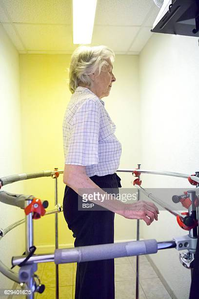 Physiotherapist vestibular rehabilitation on patients who are suffering from vertigo balance disorders relating to the inner ear A patient exercises...