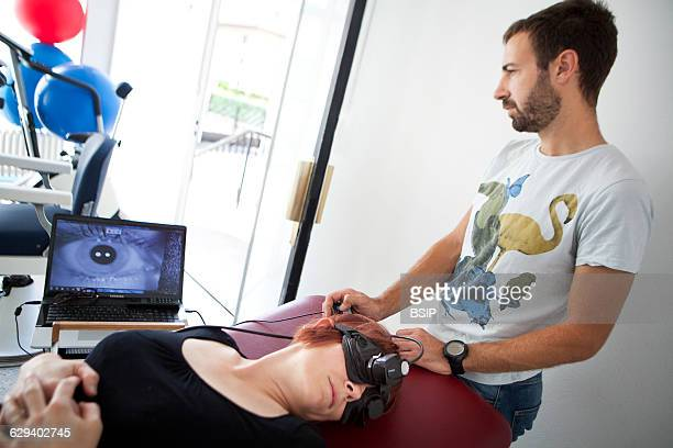 Physiotherapist vestibular rehabilitation on patients who are suffering from vertigo balance disorders relating to the inner ear The physiotherapist...