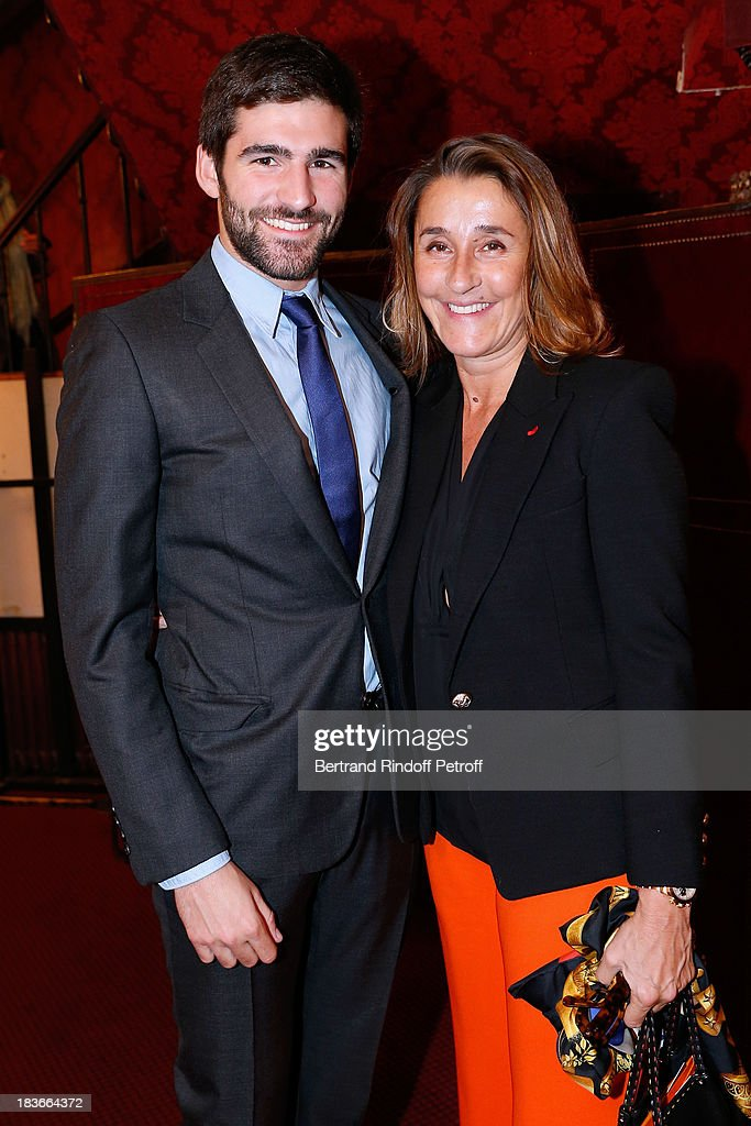 Pia de Brantes with her son Archibald Pearson attending 'La Dame De La Mer' : Gala play to benefit Care Humanitarian Organization, held in Montparnasse Theater in Paris on October 8, 2013 in Paris, France.