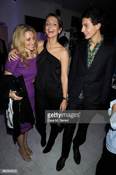 Pia Getty and Saffron Aldridge with her son Milo Astaire attend the private view of Alan Aldridge's exhibition 'The Man With Kaleidoscope Eyes' at...