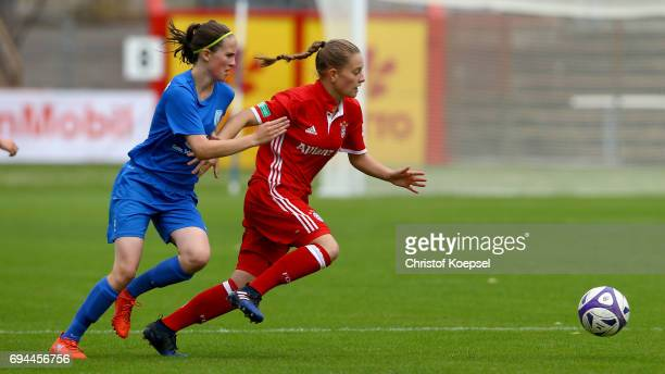 Pia Kortenjan of Meppen challenges Leonie Koester of Bayern during the B Junior Girl's German Championship Semi Final match between SV Meppen and...