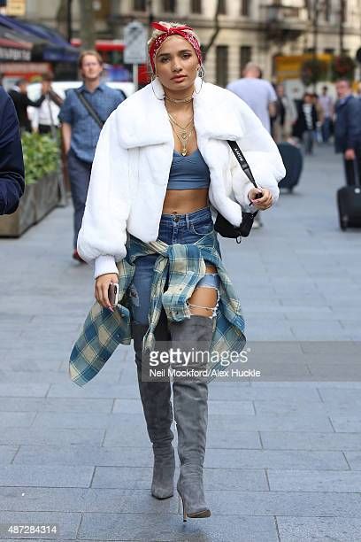 Pia Mia seen leaving the Soho Hotel before heading to Capital Radio on September 8 2015 in London England