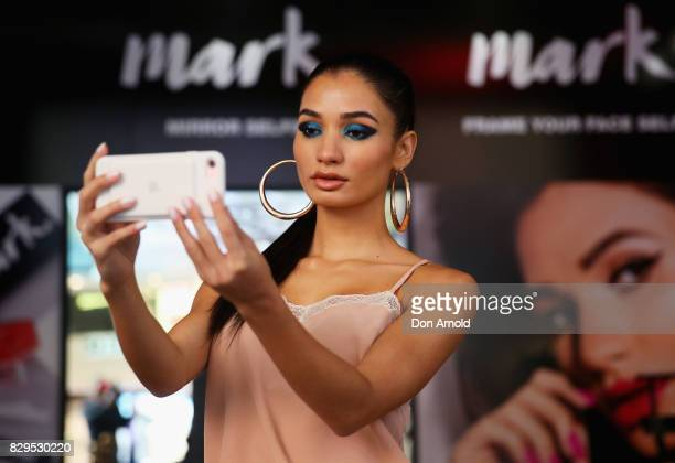 Pia Mia takes a selfie during the launch of The Selfie Story by mark at Westfield Sydney on August 11 2017 in Sydney Australia It is the world's...