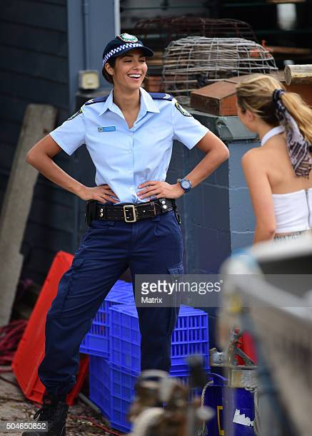 Pia Miller and cast film Home and Away on January 12 2016 in Sydney Australia