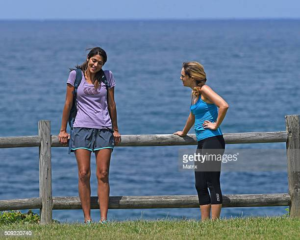Pia Miller and Penny McNamee filming Home and Away on February 9 2016 in Sydney Australia