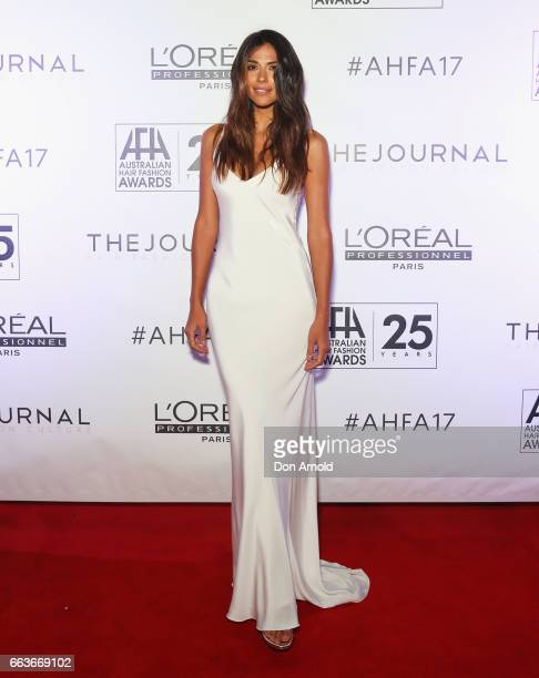 Pia Miller arrives at the 2017 Australian Hair Fashion Awards at Luna Park on April 2 2017 in Sydney Australia