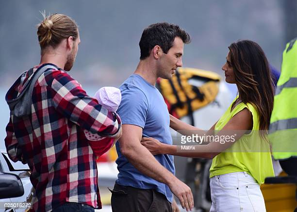 Pia Miller George Mason and Luke McKenzie filming Home and Away at Palm Beach on November 8 2016 in Sydney Australia