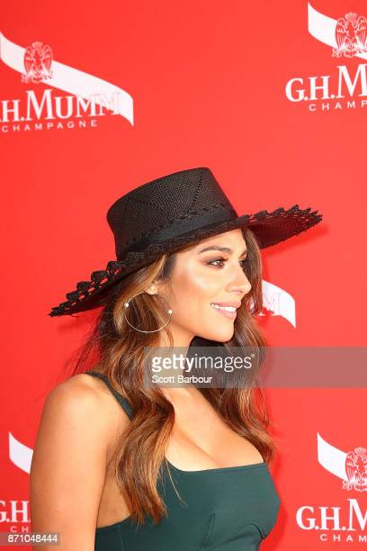 Pia Miller poses at the GH Mumm Marquee on Melbourne Cup Day at Flemington Racecourse on November 7 2017 in Melbourne Australia