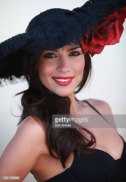 Pia Miller poses during Derby Day at Flemington Racecourse on October 29 2011 in Melbourne Australia