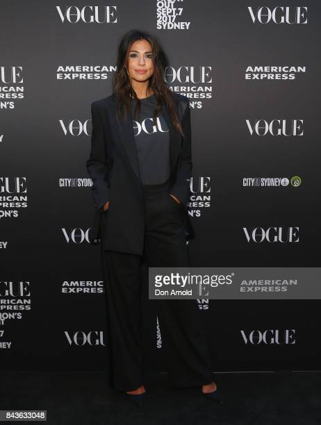Pia Miller poses during Vogue American Express Fashion's Night Out 2017 on September 7 2017 in Sydney Australia