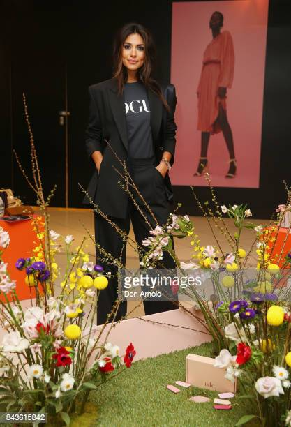Pia Miller poses inside David Jones during Vogue American Express Fashion's Night Out 2017 on September 7 2017 in Sydney Australia