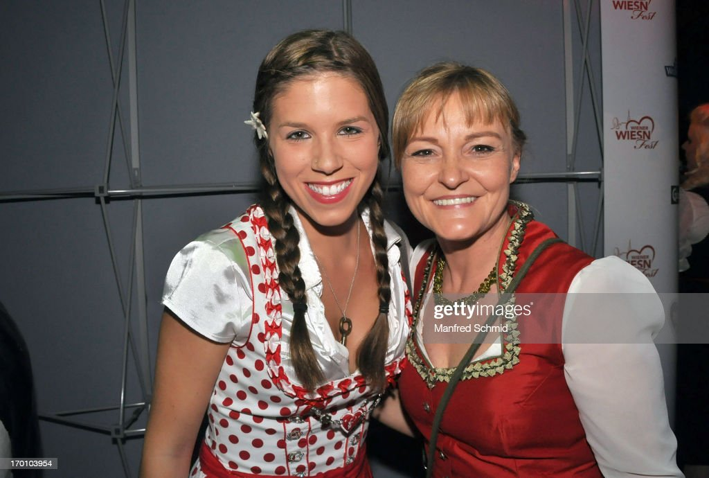 Pia Riechof and Claudia Wiesner pose during the beauty competition 'Miss Wiener Wiesn-Fest 2013' at Bettel-Alm on June 6, 2013 in Vienna, Austria.