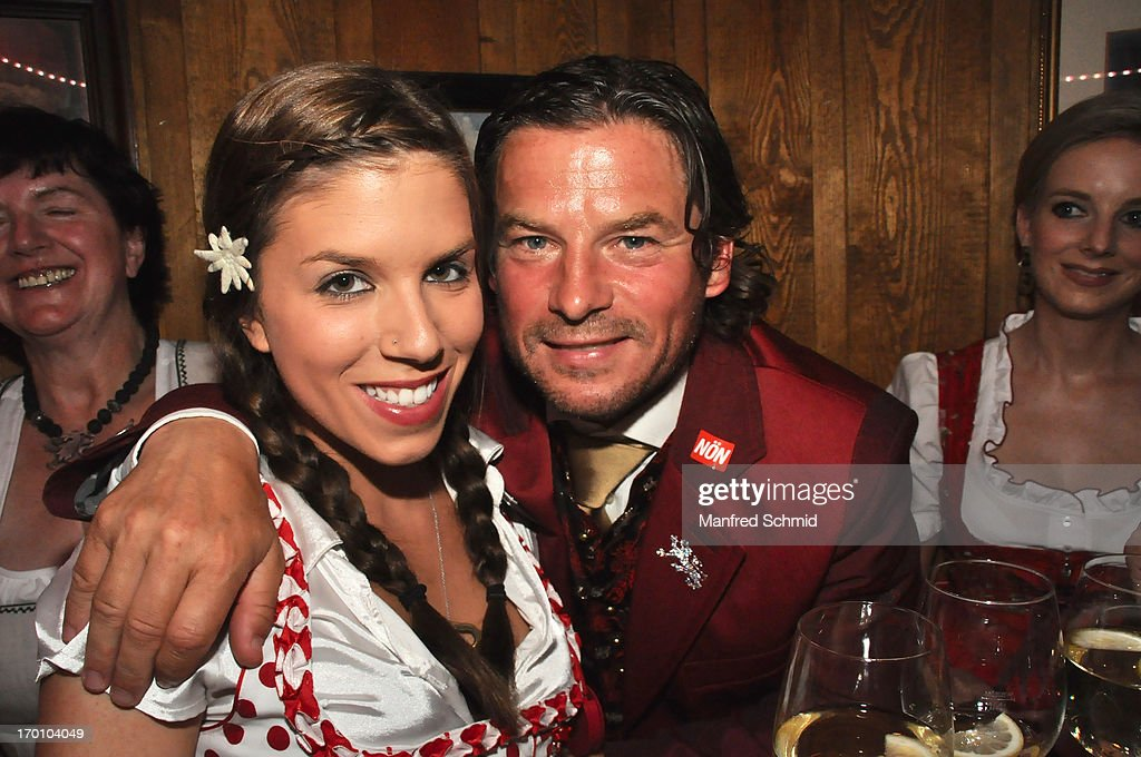 Pia Riechof and Frenkie Schinkels pose during the beauty competition 'Miss Wiener Wiesn-Fest 2013' at Bettel-Alm on June 6, 2013 in Vienna, Austria.