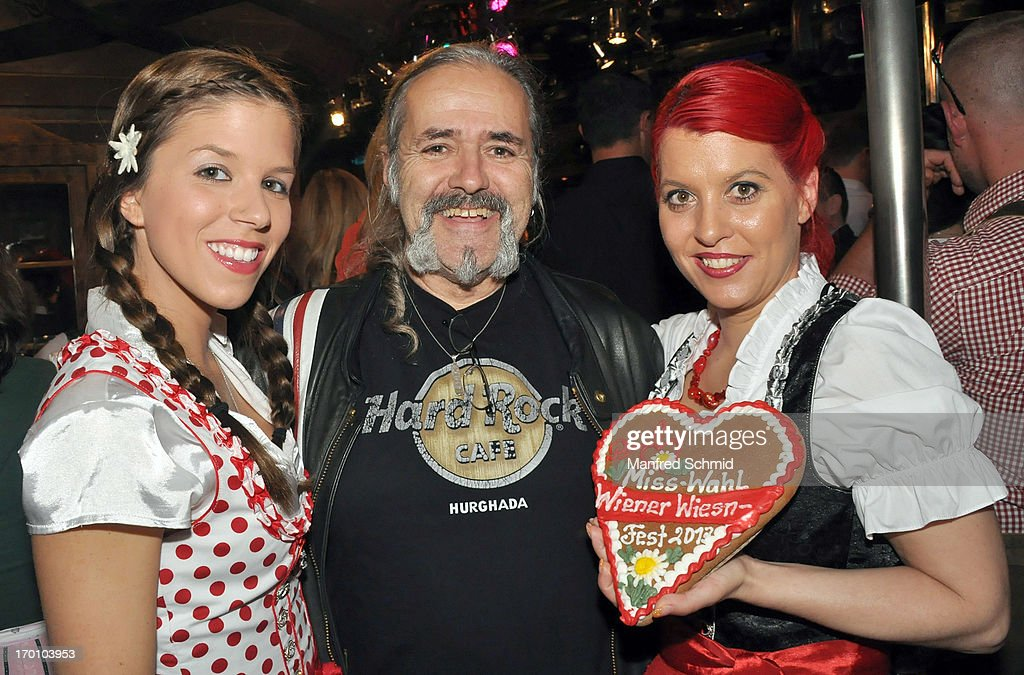 Pia Riechof, Andy Ubell and Vanessa Newton pose during the beauty competition 'Miss Wiener Wiesn-Fest 2013' at Bettel-Alm on June 6, 2013 in Vienna, Austria.