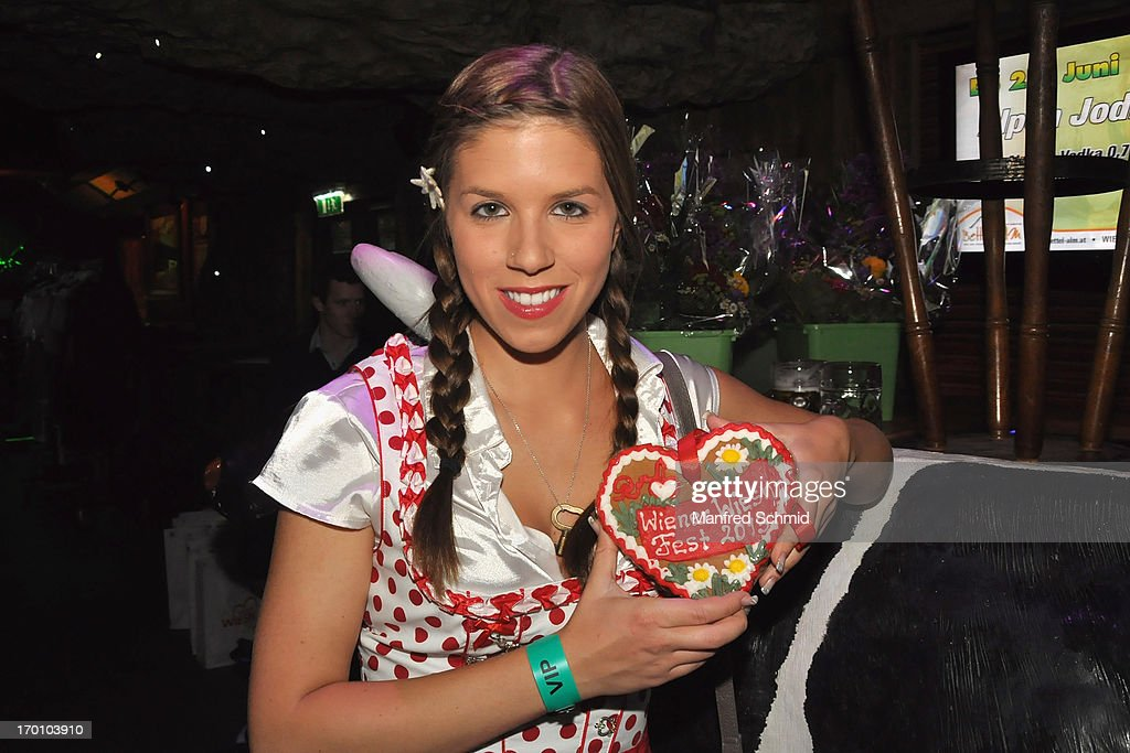 Pia Riechof poses during the beauty competition 'Miss Wiener Wiesn-Fest 2013' at Bettel-Alm on June 6, 2013 in Vienna, Austria.