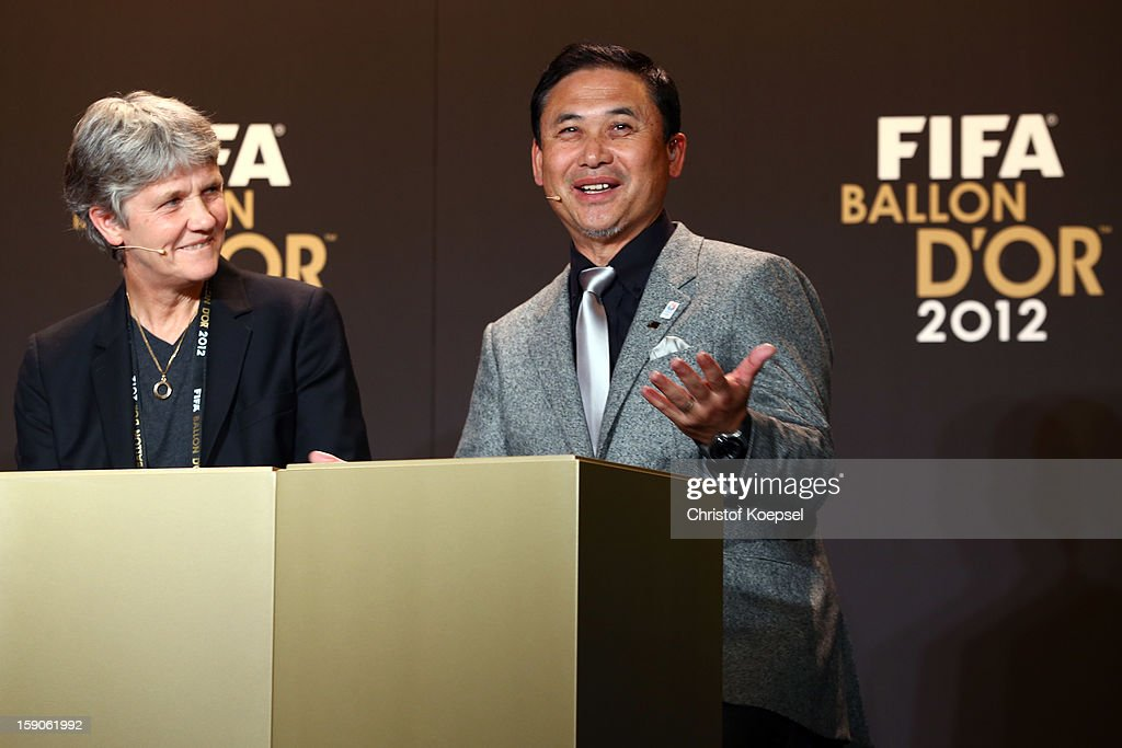Pia Sudhage, women's coach of United States and Norio Sasaki, women's coach of Japan during the Press Conference with nominees for Women's World Player of the Year and World Coach of the Year for Women's Football on January 7, 2013 at Congress House in Zurich, Switzerland.