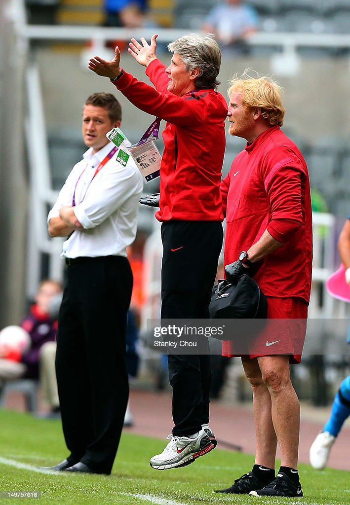 Pia Sundhage coach of the United States reacts during the Women's Football Quarter Final match between United States and New Zealand, on Day 7 of the London 2012 Olympic Games at St James' Park on August 3, 2012 in Newcastle upon Tyne, England.
