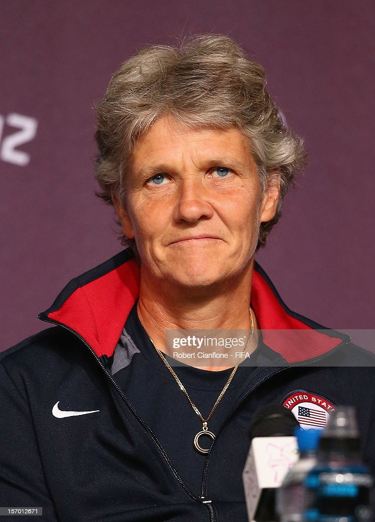 <a gi-track='captionPersonalityLinkClicked' href=/galleries/search?phrase=Pia+Sundhage&family=editorial&specificpeople=3280218 ng-click='$event.stopPropagation()'>Pia Sundhage</a> coach of the USA is seen during the Women's Football Final press conference at the Main Press Centre as part of the London 2012 Olympic Games on August 8, 2012 in Newcastle upon Tyne, England.
