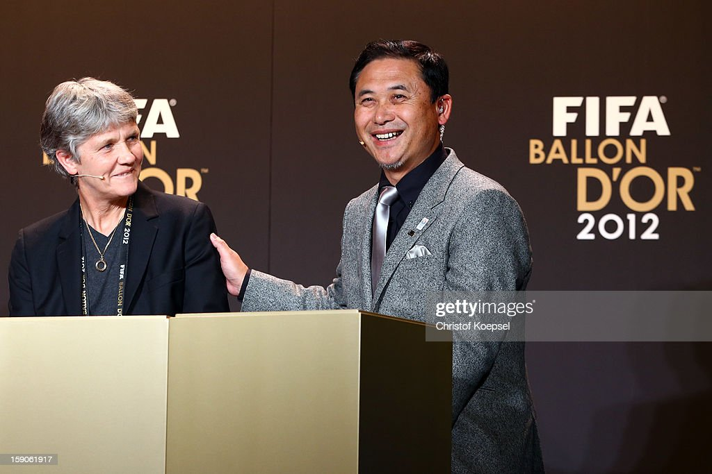 Pia Sundhage, women's coach of United States and Nori Sasaki, women's coach of Japan during the Press Conference with nominees for Women's World Player of the Year and World Coach of the Year for Women's Football on January 7, 2013 at Congress House in Zurich, Switzerland.