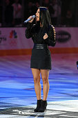 Pia Toscano sings the National Anthem prior to the game between the Los Angeles Kings and the Vancouver Canucks in Game Four of the Western...