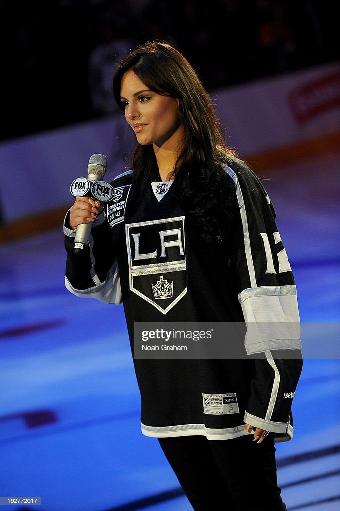 Pia Toscano sings the National Anthem prior to the game between the Los Angeles Kings and the Colorado Avalanche at Staples Center on February 23, 2013 in Los Angeles, California.