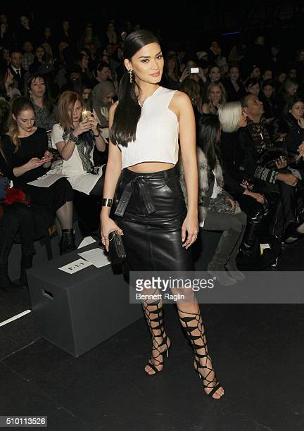 Pia Wurtzbach poses for a picture on the front row at Monique Lhuillier Fall 2016 New York Fashion Week at The Arc Skylight at Moynihan Station on...