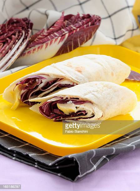 Piadina with red chicory and squacquerone cheese