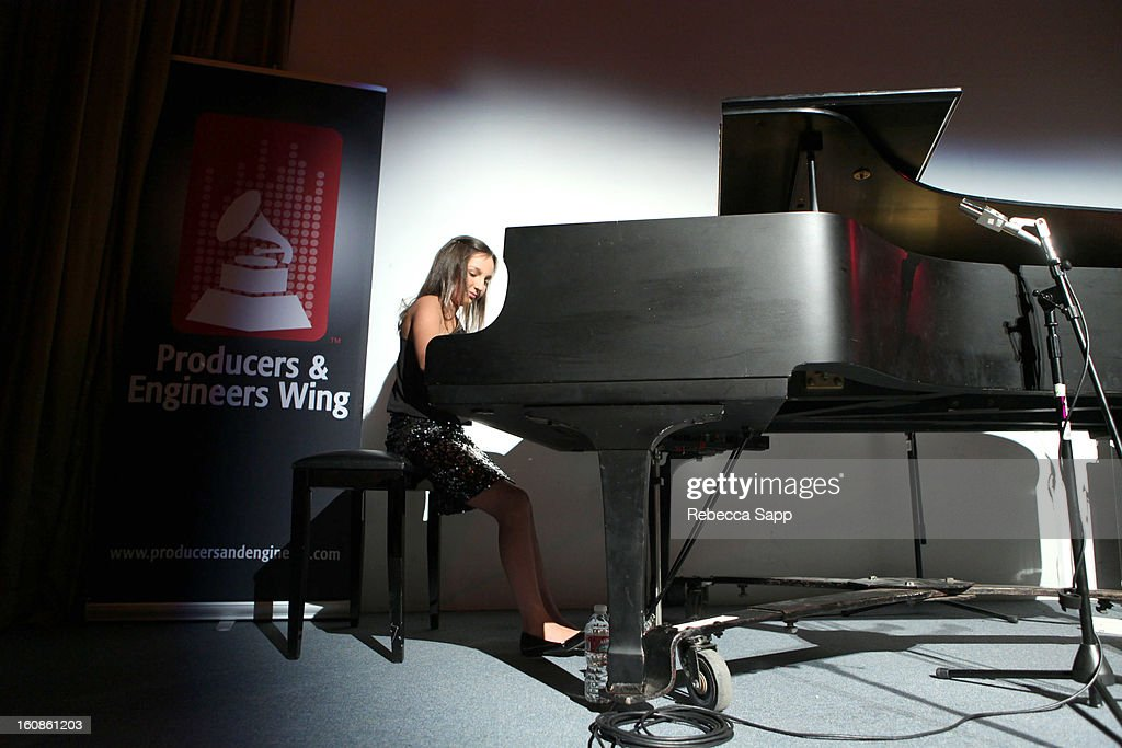 Pianist and composer Emily Bear performs at the P&E Wing event honoring Quincy Jones and Al Schmitt on February 6, 2013 in Los Angeles, California.