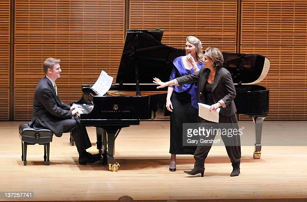 Pianist Brent Funderburk soprano Melissa Shippen Burrows and Renee Fleming attend The Song Continues Renee Fleming Master Class at Carnegie Hall on...