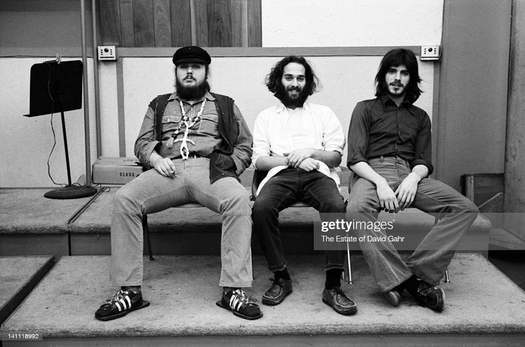 Pianist Dr John (Mac Rebennack), mandolinist Andy Statman, and violinist Ken Kosek pose for a portrait on March 7, 1973 during sessions for Danny O'Keefe's 1973 album, Breezy, at Atlantic Recording Studios in New York City, New York.