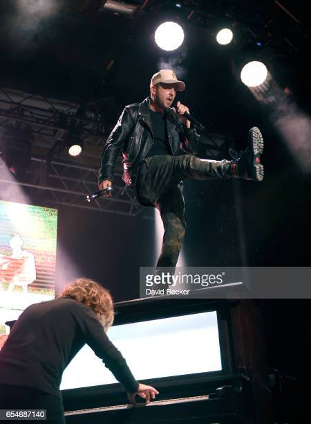 Pianist Drew Brown and singer Ryan Tedder of OneRepublic perform during the Spring Fling concert at the Red Rock Resort on March 17 2017 in Las Vegas...