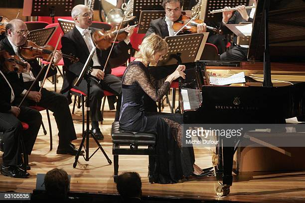 Pianist Helene Mercier Arnault performs during 'Le Concert de la Paix' held to raise funds for The Weizmann Institute of Science who carry research...