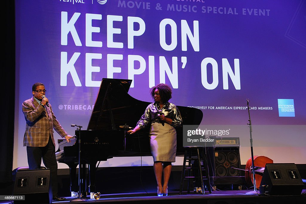 Pianist Herbie Hancock and jazz singer Dianne Reeves perform at the 'Keep On Keepin' On' world premiere exclusively for American Express Card Members at BMCC Tribeca PAC on April 19, 2014 in New York City.
