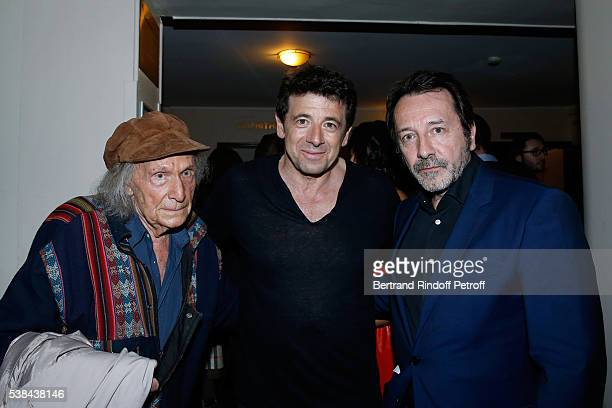 Pianist Ivry Gitlis singer Patrick Bruel and actor JeanHugues Anglade pose after the Concert of Patrick Bruel at Theatre Du Chatelet on June 6 2016...