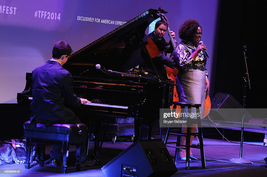 Pianist Justin Kauflin and jazz singer <a gi-track='captionPersonalityLinkClicked' href=/galleries/search?phrase=Dianne+Reeves&family=editorial&specificpeople=828036 ng-click='$event.stopPropagation()'>Dianne Reeves</a> perform at the 'Keep On Keepin' On' world premiere exclusively for American Express Card Members at BMCC Tribeca PAC on April 19, 2014 in New York City.