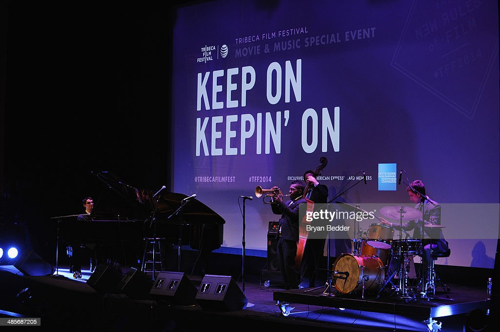 Pianist Justin Kauflin and trumpeter <a gi-track='captionPersonalityLinkClicked' href=/galleries/search?phrase=Roy+Hargrove&family=editorial&specificpeople=886426 ng-click='$event.stopPropagation()'>Roy Hargrove</a> perform at the 'Keep On Keepin' On' world premiere exclusively for American Express Card Members at BMCC Tribeca PAC on April 19, 2014 in New York City.