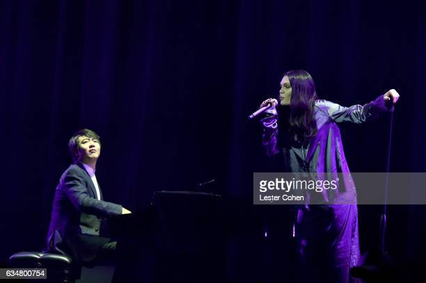 Pianist Lang Lang and singersongwriter Jessie J perform onstage at Sir Lucian Grainge's 2017 Artist Showcase presented by American Airlines and Citi...